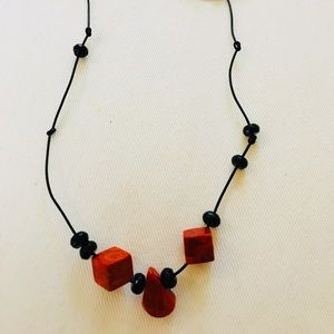 Jewelry - Red & black cubes,squares,triangle beads necklace